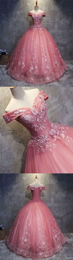 PINK SWEETHEART TULLE LACE APPLIQUE LONG PROM GOWN,