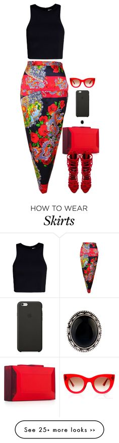 """Printed Skirt"" by miki006 on Polyvore"
