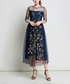 LAKLOOK Navy Floral-Overlay Midi Dress | zulily