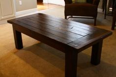 Love this website.  Ana White places EASY instructions for how to make furniture.  My husband made this table in an afternoon for $30.  It's durable and easy to clean.