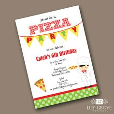 Pizza Party 1 Birthday Invitation  Boy or Girl by lilygrovedesigns