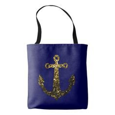Beautiful Yellow Gold sparkles Anchor on Navy Blue All Over Print Tote Bag by #PLdesign #anchor #summer #SparklesAnchor #GoldSparkles
