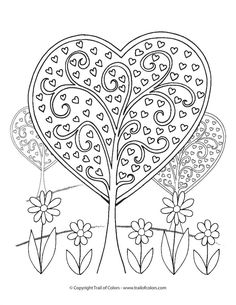 Lovely Heart Trees Valentines Day Coloring Page for Grown Ups and Kids