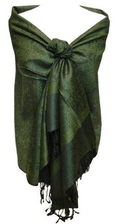 93f50d775869 Jacquard Paisley Forest Green and Black Pashmina Shawl Wrap Peach Couture