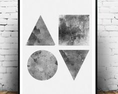 Minimalist print Abstract watercolor art Geometric by Wallzilla
