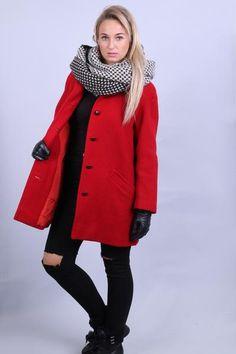 Jaeger London Womens M Coat Red Wool Jacket Vintage 90s Winter - RetrospectClothes