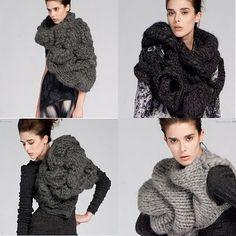 Extreme chunky knitwear by Johan Ku.