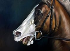 CANVAS or watercolor paper PRINT horse, equestrian, equine, reigns, bit, / Mary Sparrow of Hanging the Moon Art Studio  Portrait animal by HangingtheMoonShelby on Etsy
