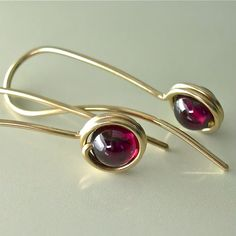 Garnet / 14K Gold-filled Short Minimal Drop Earring