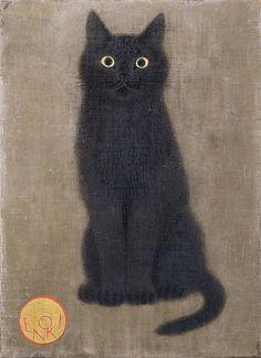 animal drawings Toshiyuki Enoki, Black Cat Looking Straight Ahead Crazy Cat Lady, Crazy Cats, I Love Cats, Cute Cats, Animals And Pets, Cute Animals, Draw Animals, Black Cat Art, Black Is Black