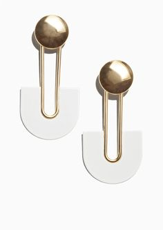 & Other Stories image 1 of Shiny Plate Earrings in White/Gold
