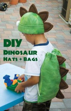 DIY Dinosaur Favor Bags + Hats - use the bag idea for a turtle shell with a Ninja Turtle hat?
