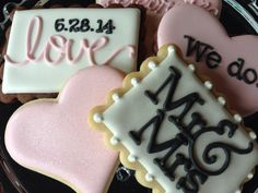 Items similar to 2 Dozen I Do Sugar Cookie Wedding Collection on Etsy Galletas Cookies, Iced Cookies, Cute Cookies, Royal Icing Cookies, Cupcake Cookies, Sugar Cookies, Owl Cookies, Cookie Table, Cookie Bars