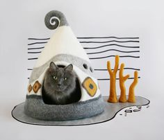 Cueva del gato, la cama del gato, blanco, amarillo, gris, casa de gato Felted, casa del animal doméstico, fieltro gato cueva, Lana Natural, respetuoso del medio ambiente de FeltField en Etsy https://www.etsy.com/mx/listing/521468154/cueva-del-gato-la-cama-del-gato-blanco