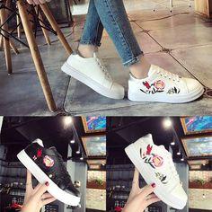 Women Sport Run Sneakers Embroidery Flower Shoes Leisure Small Shoes Running Sneakers, Running Shoes For Men, Casual Sneakers, Sneakers Fashion, Casual Shoes, Mens Running, Floral Sneakers, Flower Shoes, Outdoor Fashion