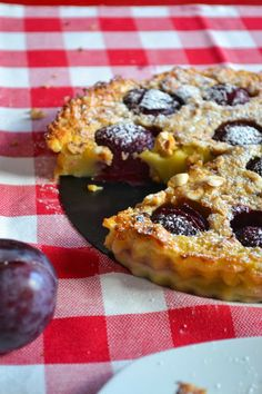 A Dutchie Baking - Plum and Hazelnut Clafoutis  #food #baking #flan #french #clafouti