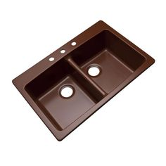 Waterbrook Dual Mount Composite Granite 33 in. 3-Hole Double Bowl Kitchen Sink in Cocoa (Brown)