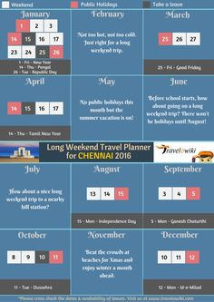 Hey #Chennaites! #Travelowiki treats you today with an amazing #2016HolidayPlanner! #LetsTravel