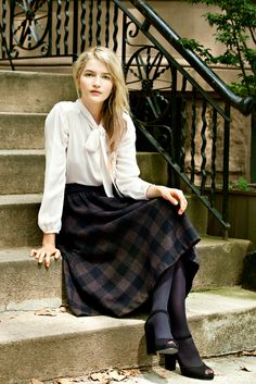 Steven Alan Mariposa top + Claudia Skirt. White Bow top, bell sleeves. Plaid skirt.