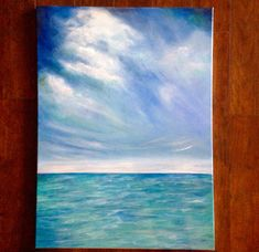Ocean Still Life 22 x 30 Acrylic Archival canvas This gorgeous, original painting is even more impressive in person. Large size, minimalistic ocean painting. Soothing ocean view with clouds. If you love the beach, this painting is for you! Escape into a beautiful serene, seascape