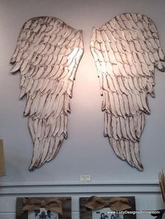 Wooden Angel Wings Sculptural Wall Art in Two Sizes and Lots of Colors