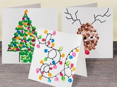 Paint using your thumb print to make these amazing Christmas cards. Christmas Arts And Crafts, Christmas Cards To Make, Noel Christmas, Christmas Crafts For Kids, Christmas Activities, Xmas Cards, Xmas Tree Decorations, Christmas Planning, Childrens Christmas