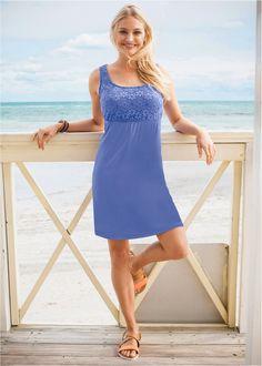 Jerseykleid mit Spitze lilablau - bpc bonprix collection jetzt im Online Shop von bonprix.de ab ? 16,99 bestellen. Elastisches Bündchen, Gesamtlänge bei ...