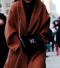 Oversized rusty brown wool coat, louis vuitton shoulder bag