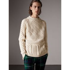 A classic Aran sweater knitted in wool cashmere. The design features a high crew neck and elongated cuffs, both ribbed for further insulation. Knitwear Fashion, How To Purl Knit, Knit Picks, Cashmere Scarf, Knitting Designs, Costume, Pulls, Casual, Long Sleeve Tees
