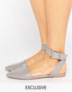 Туфли на плоской подошве с заостренным носком и ремешком на щиколотке The March
