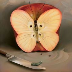 Vladimir Kush butterfly apple painting for sale - Vladimir Kush butterfly apple is handmade art reproduction; You can shop Vladimir Kush butterfly apple painting on canvas or frame. Vladimir Kush, Surrealism Painting, Painting Art, Cool Paintings, Beautiful Paintings, Art Plastique, Love Art, Amazing Art, Illusions