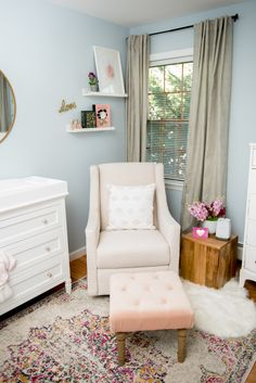 The Project Nursery Shop's Buyer Nikki is revealing the sweet but sophisticated nursery nook she created for her daughter in her master bedroom. Nursery Nook, Bedroom Nook, Project Nursery, Bedroom Ideas, Girl Nursery, Nursery Ideas, Baby Nook, Sophisticated Nursery, Modern Master Bedroom