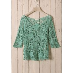 Green Floral Mid-Sleeves Crochet Top ($43) via Polyvore