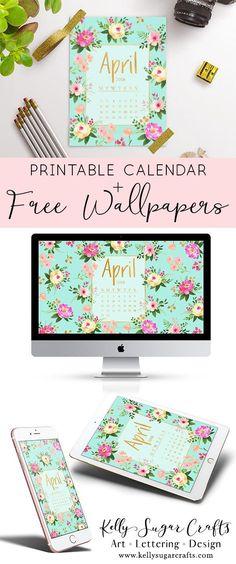 Desktop Wallpaper : Free Printable April 2018 Calendar Wallpaper Desktop Phone Tablet by Kelly Sugar