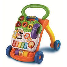 Vtech Sit-to-Stand Learning Walker. One of the best toys I've seen for early standers and walkers. Not too loud or annoying, baby loves it.