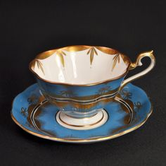 Royal Albert Footed Cup Saucer Hand Painted Blue Gold Bows Silver 1950's Avon | eBay