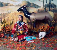 """Wendy Red Star  From the series Four Seasons, part of the exhibit """"The Plains Indians: Artists of Earth and Sky"""", at the Metropolitan Museum in New York"""
