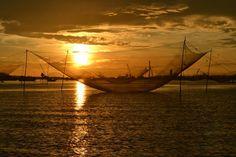 Sunrise over fishing nets - Hoi An, Vietnam