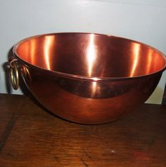 Vintage French Copper Mixing Bowl 10 3/4 VILLEDIEU Egg by Avaricia, $110.00