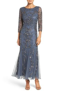 1920s Cocktail Party Dresses Petite Womens Pisarro Nights Embellished Mesh Gown Size 6P - Grey $218.00 AT vintagedancer.com