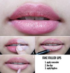 4 easy steps to fake, fuller lips. Discover & shop awesome indie lip products at Hair And Makeup Tips, Hair And Nails, Beauty Make Up, Diy Beauty, Beauty Shop, Lotion, Lip Makeup, Makeup Stuff, Makeup Hacks