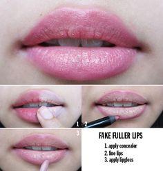 4 easy steps to fake, fuller lips.