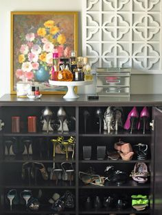 25 Ways to Store Shoes in Your Closet. (also love the wall decor)