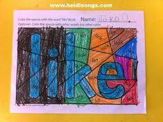 Brand New: Hidden Sight Word Coloring Worksheets! (Freebie alert!) | Heidi Songs