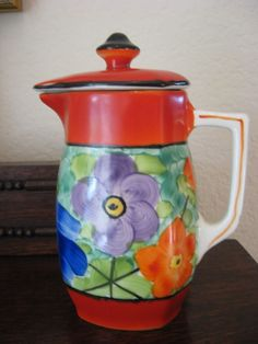 Mid Century Czech Pottery Teapot Caraf  Hand Painted Bern Flowers Red Orange