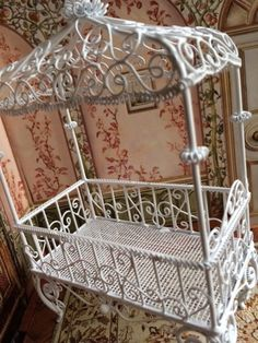 Canopied Dollhouse Wrought Iron Crib and Two  by Jewelmoon on Etsy