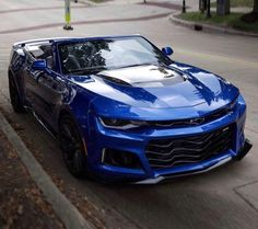 Chevrolet Camaro ZL1 Convertible painted in Hyper Blue   Photo taken by: @nasty_camaros on Instagram