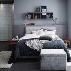 Grey interiors. Bed linen ideas.