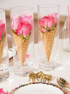 14 Lovely Centerpiece Ideas for Your Reception Table More, this one would be cute for an ice cream social! Summer Table Decorations, Decoration Table, Wedding Decorations, Wedding Centerpieces, Birthday Table Decorations, Marriage Decoration, Colorful Centerpieces, Homemade Decorations, Dinner Party Decorations