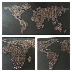 Fadenbild Weltkarte Kupferdraht  Selbstgemacht!